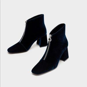 ZARA new velvet ankle boots.